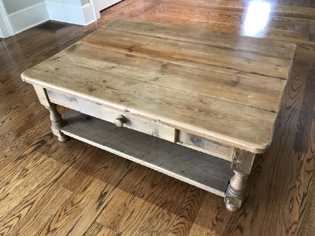 Antique Pine Wood Coffee Table w Drawer & Shelf - 2