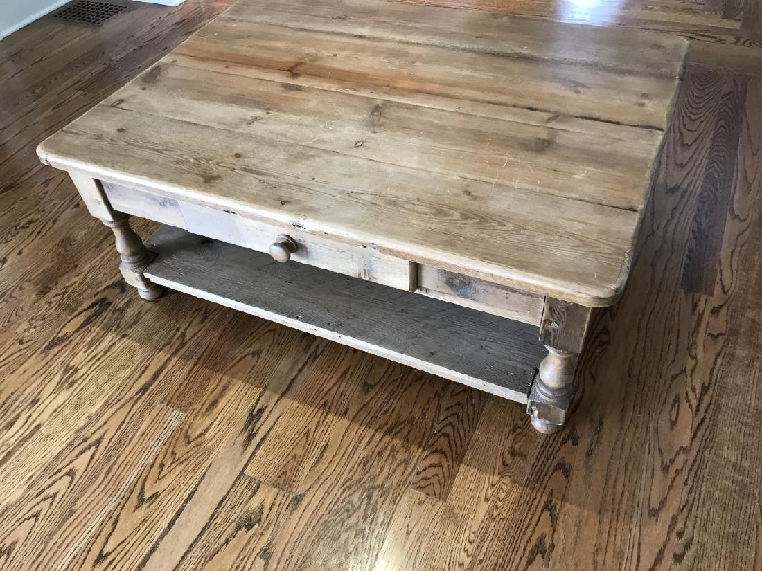 Antique Pine Wood Coffee Table w Drawer & Shelf - 3