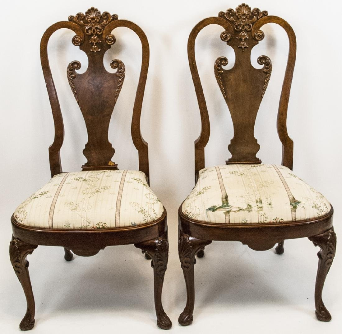 Pair of Antique Queen Anne Style Side Chairs