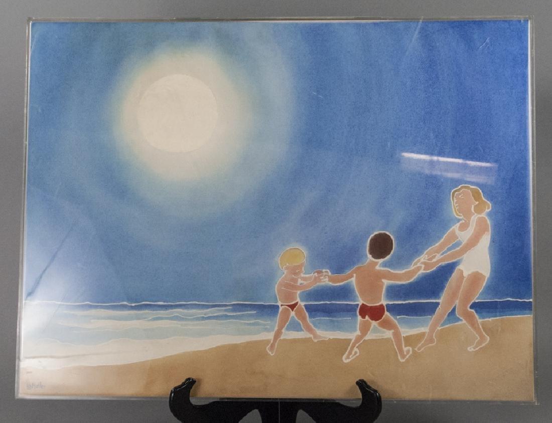 Mid Century Watercolor Beach Scene H B Muller