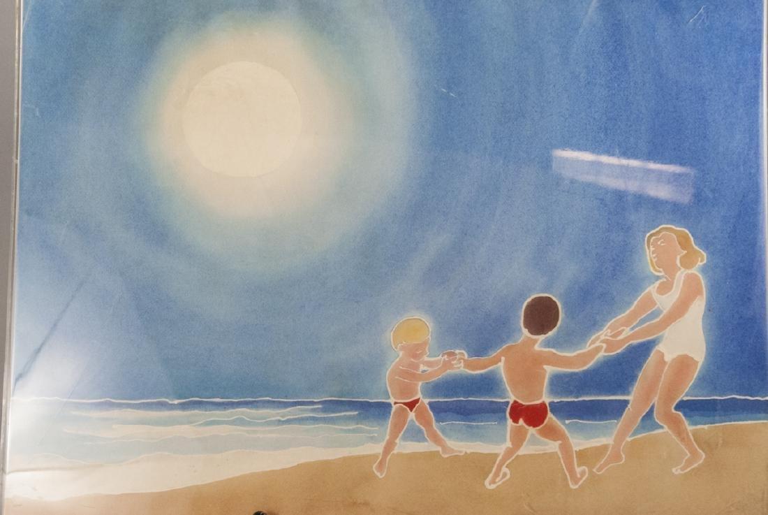 Mid Century Watercolor Beach Scene H B Muller - 2