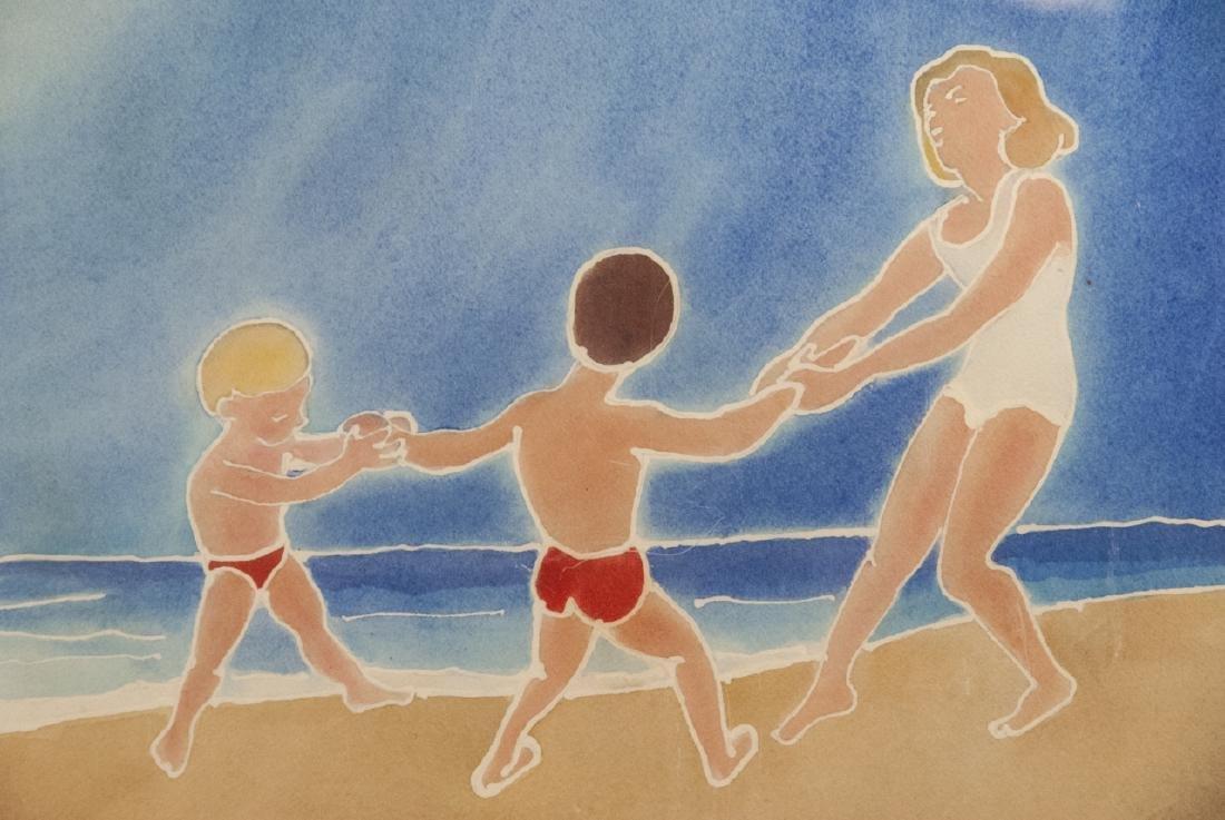 Mid Century Watercolor Beach Scene H B Muller - 3