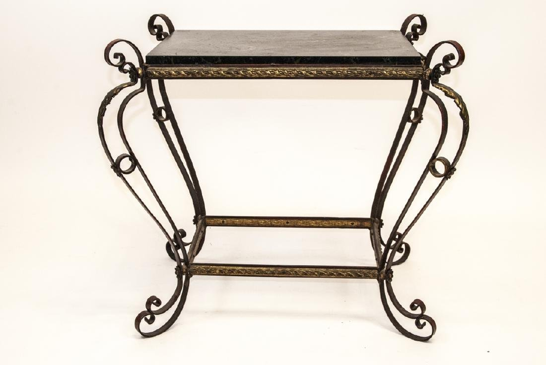 Hollywood Regency Wrought & Tole Marble Top Table - 2