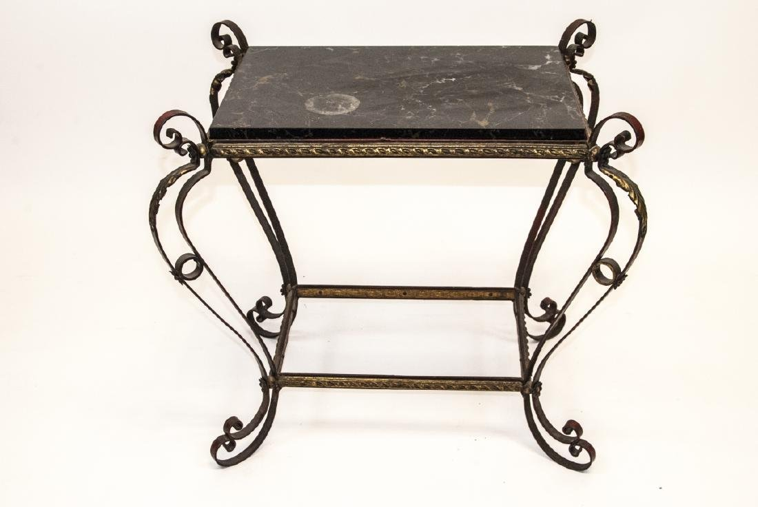 Hollywood Regency Wrought & Tole Marble Top Table - 3