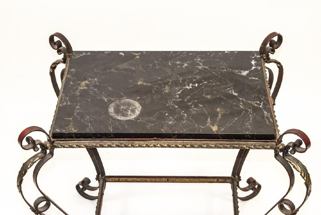 Hollywood Regency Wrought & Tole Marble Top Table - 4