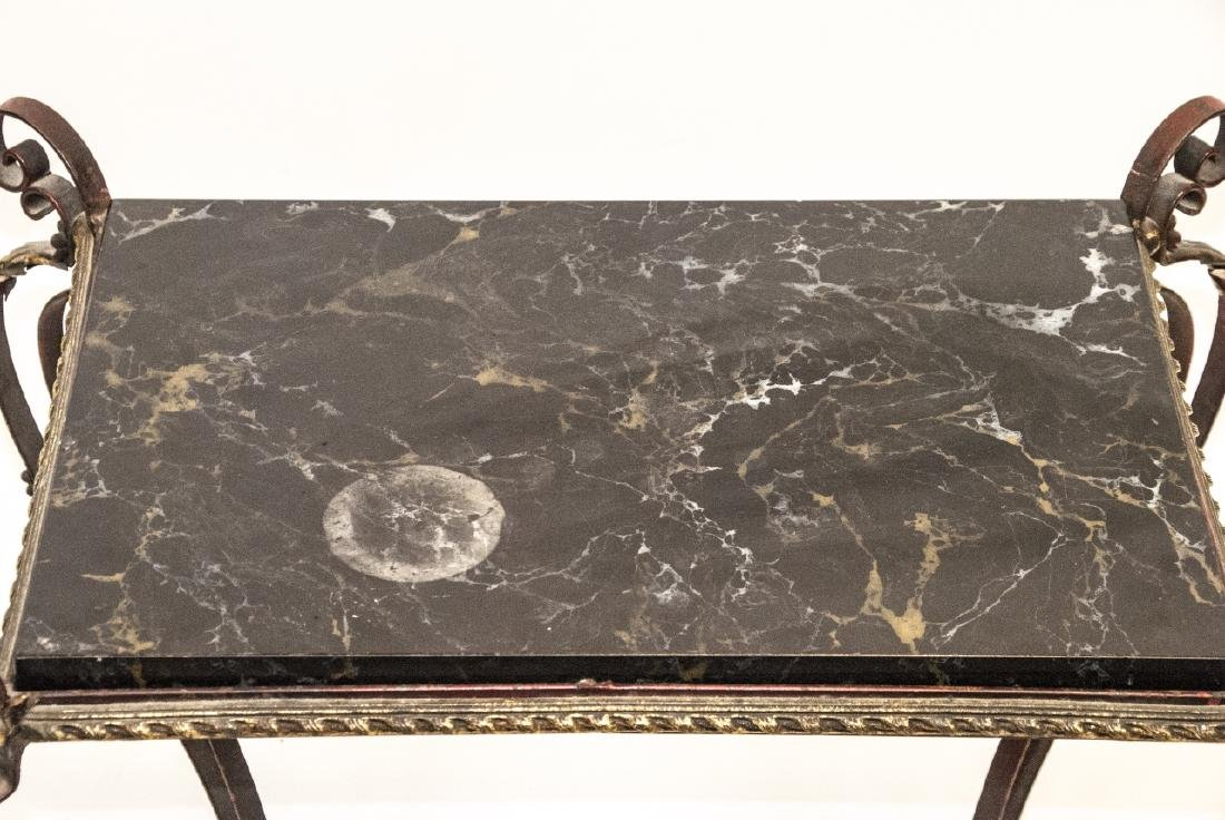 Hollywood Regency Wrought & Tole Marble Top Table - 5