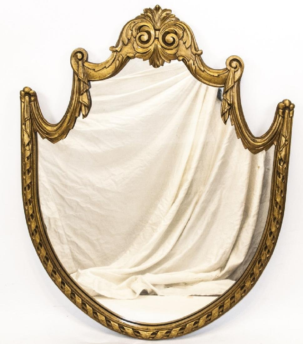 Antique Neoclassical Gilt Wood Shield Mirror