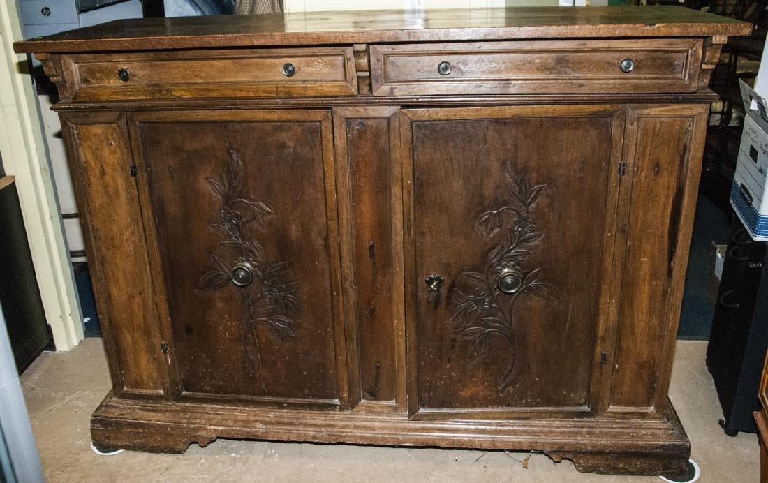 Antique  Arts & Crafts Style Carved Oak Sideboard