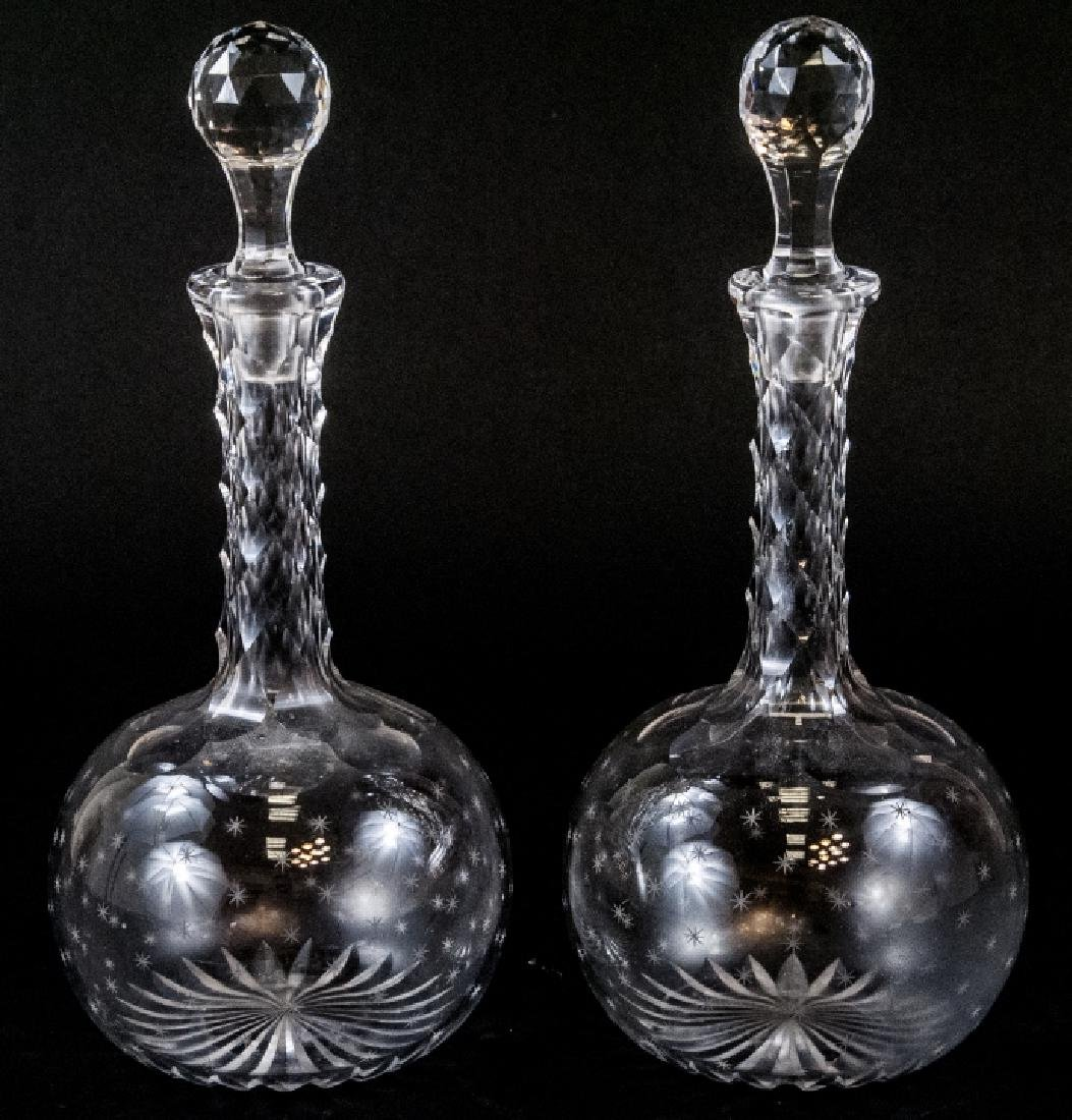 Pair of Antique Cut Crystal Decanters