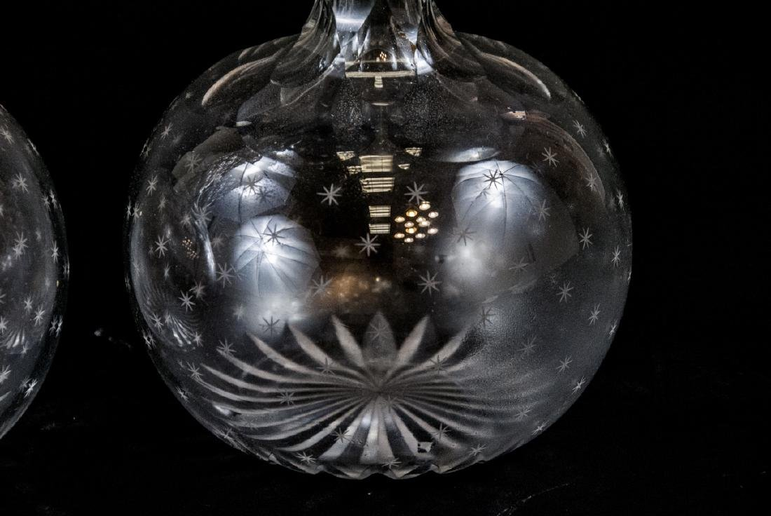 Pair of Antique Cut Crystal Decanters - 5