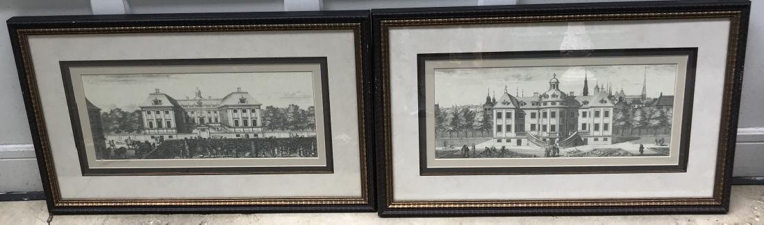Pair of Antique French Framed Architectural Prints