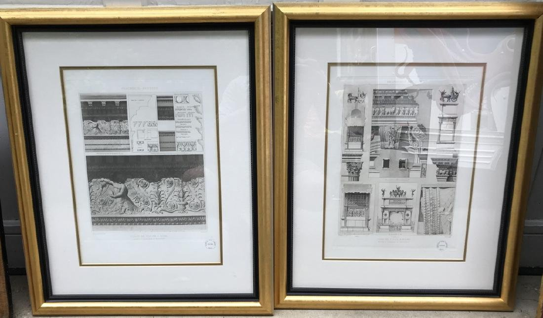 Pair Antique Italian Framed Architectural Prints