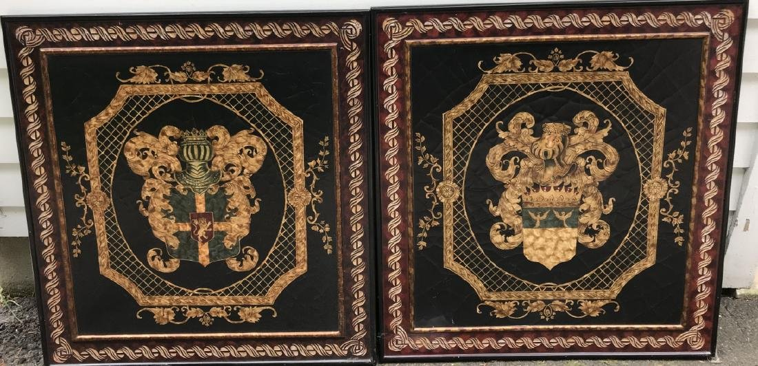 Pair of Italian Baroque Style Coat of Arms Plaques