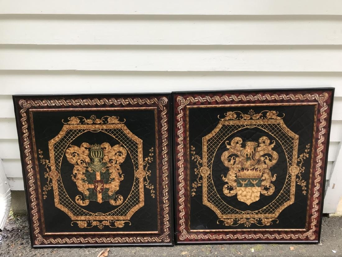 Pair of Italian Baroque Style Coat of Arms Plaques - 2