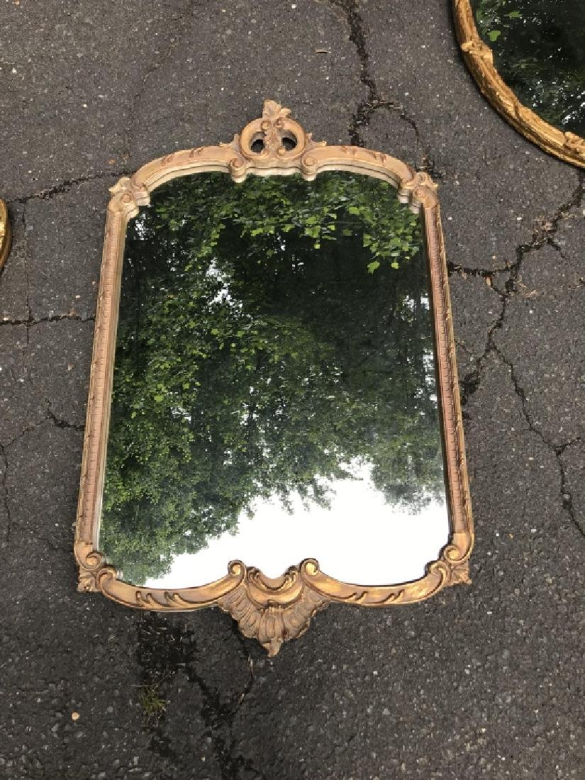 French Rococo Style Gold Tone Wall Mirror - 2
