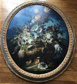 Large Dutch Style Still Life Painting Floral Scene