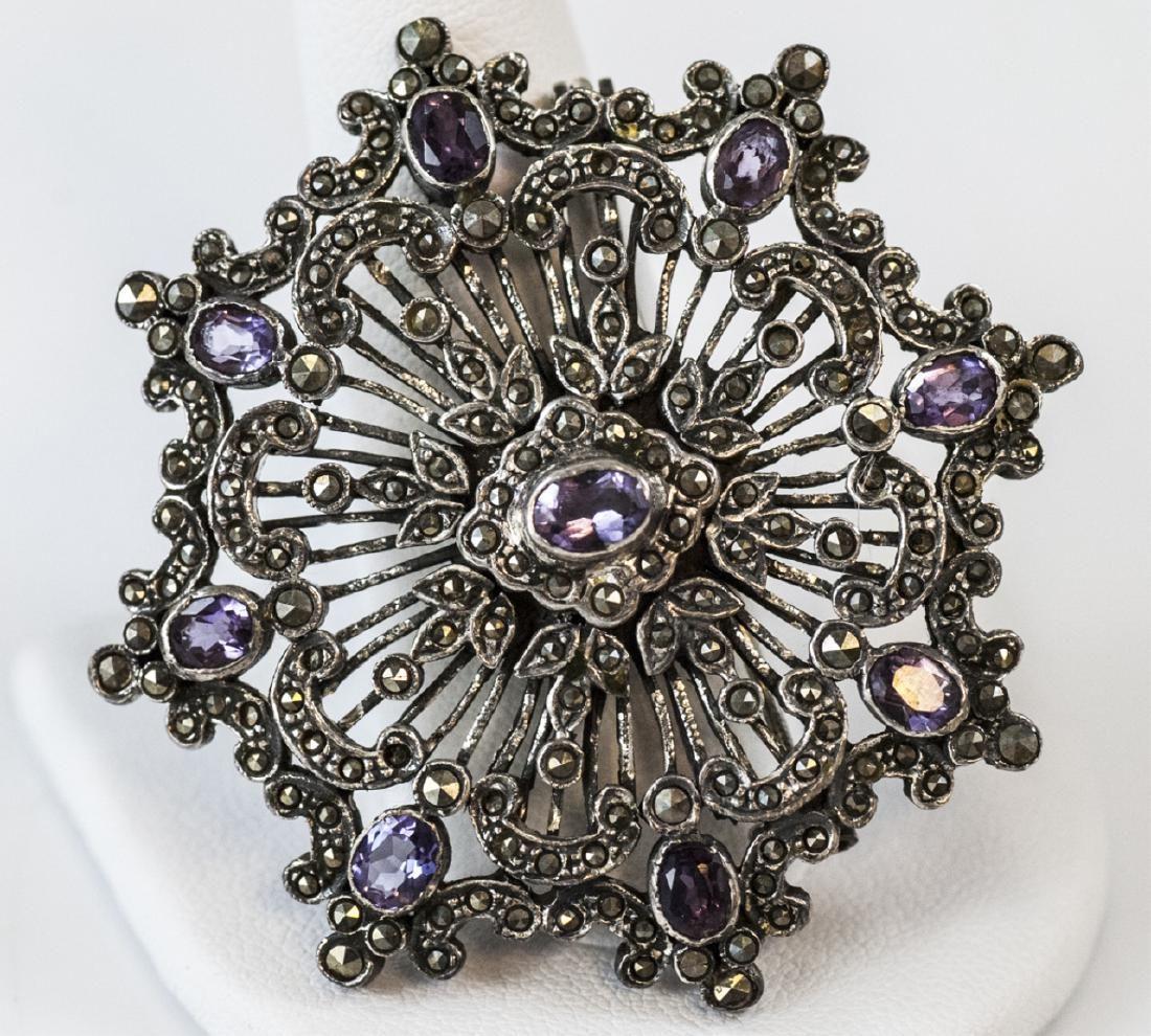 Vintage Sterling Silver Amethyst Marcasite Brooch