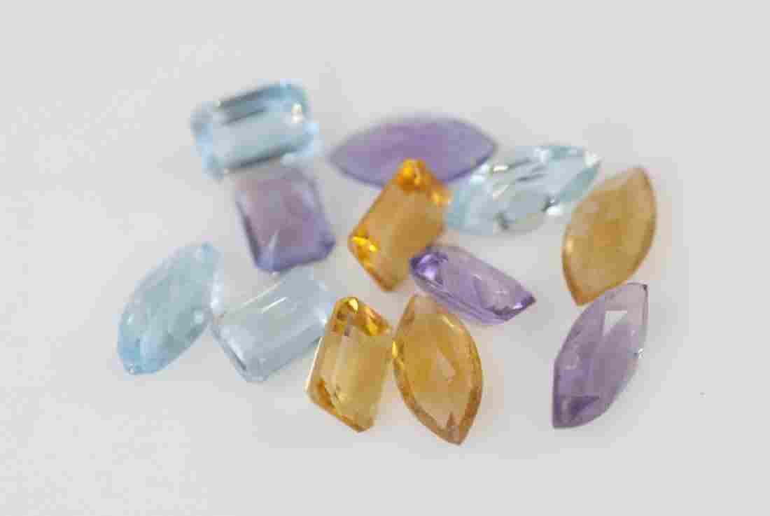 Loose Gemstones - Amethyst Citrine & Aqua Topaz