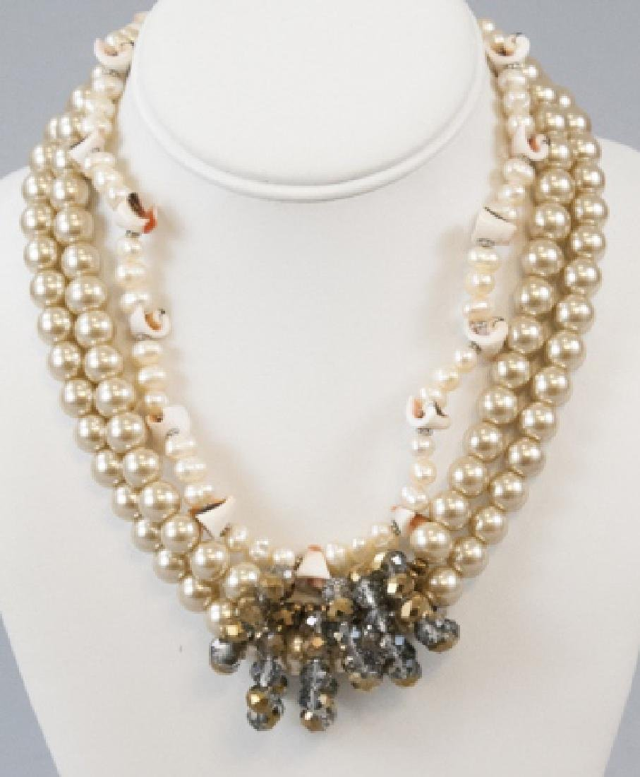 Natural and Faux Pearl Crystal and Shell Necklaces
