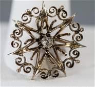 Antique 14k Yellow Gold & Diamond Starburst Brooch