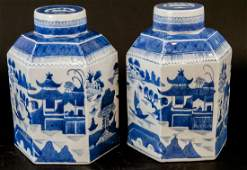 Pair Chinese Canton Porcelain Tea Caddies