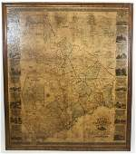 Antique Mounted Map Fairfield County, Conn. 1858