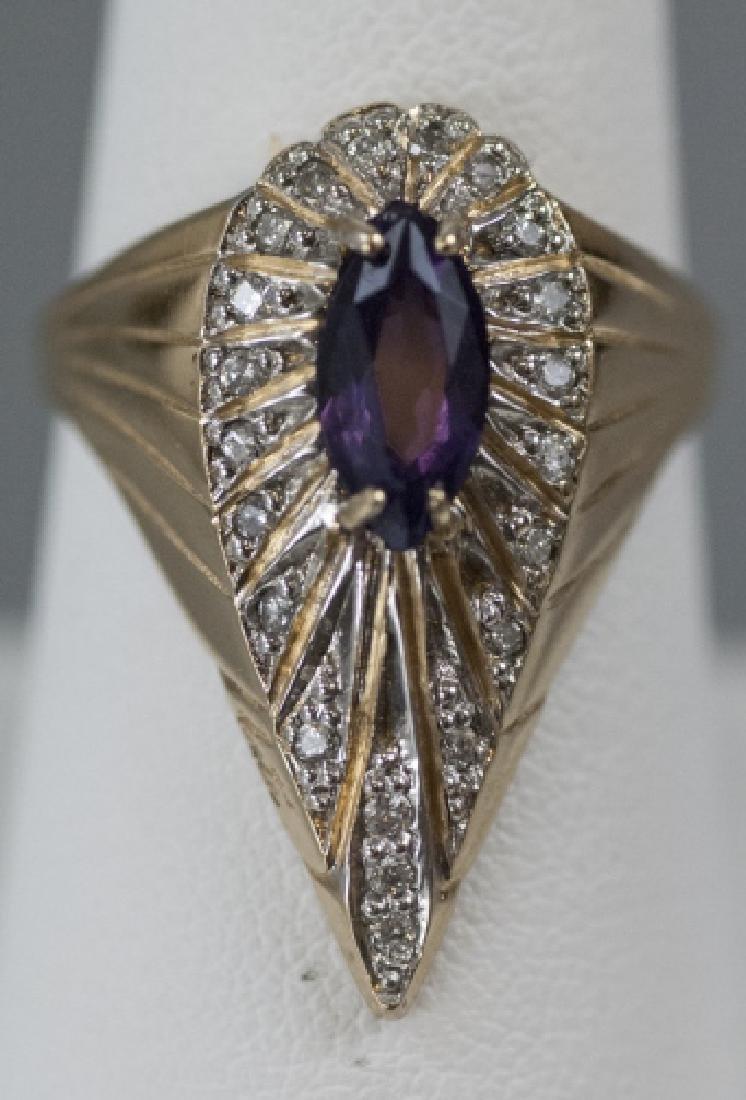 Estate Ring by Erte - 14k Gold, Diamond & Amethyst