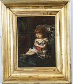 Percival De Luce Portrait Young Girl Oil Painting