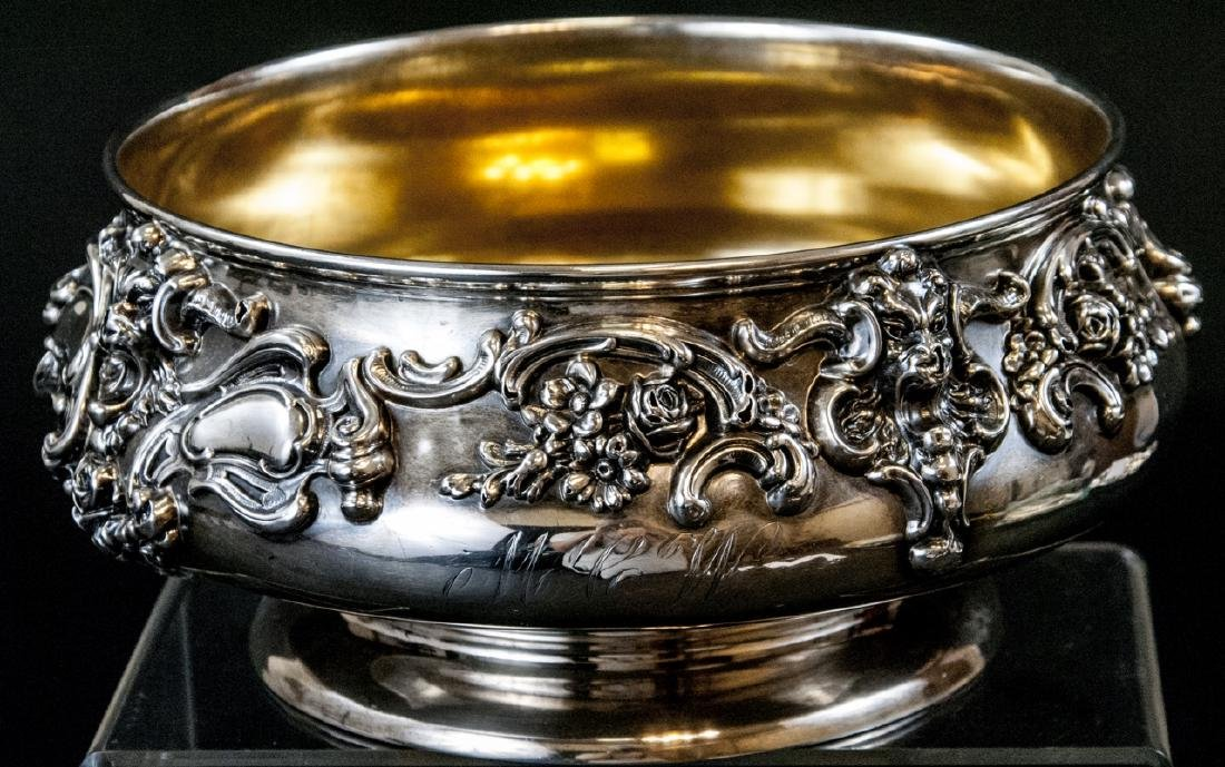 Large Antique Sterling Silver Center Piece Bowl