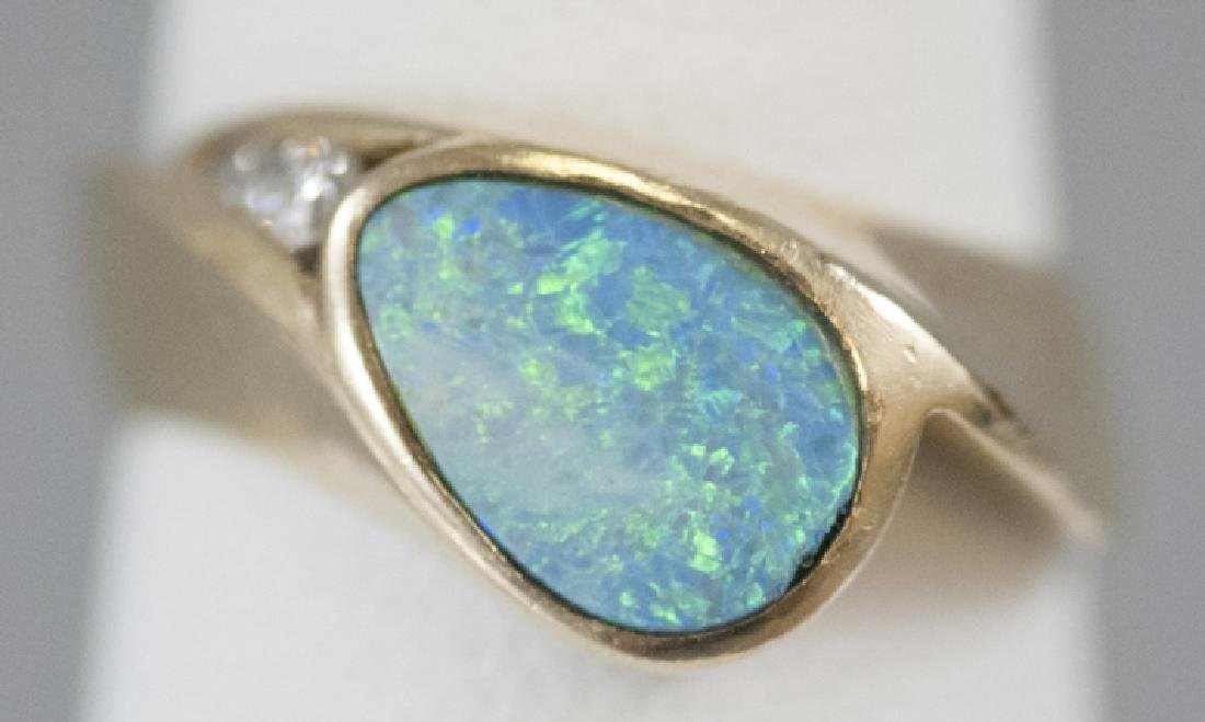 Modernist 14kt Yellow Gold Opal & Diamond Ring