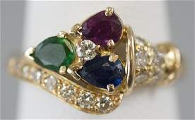 Estate 18kt Gold Diamond Emerald Ruby Sapphire