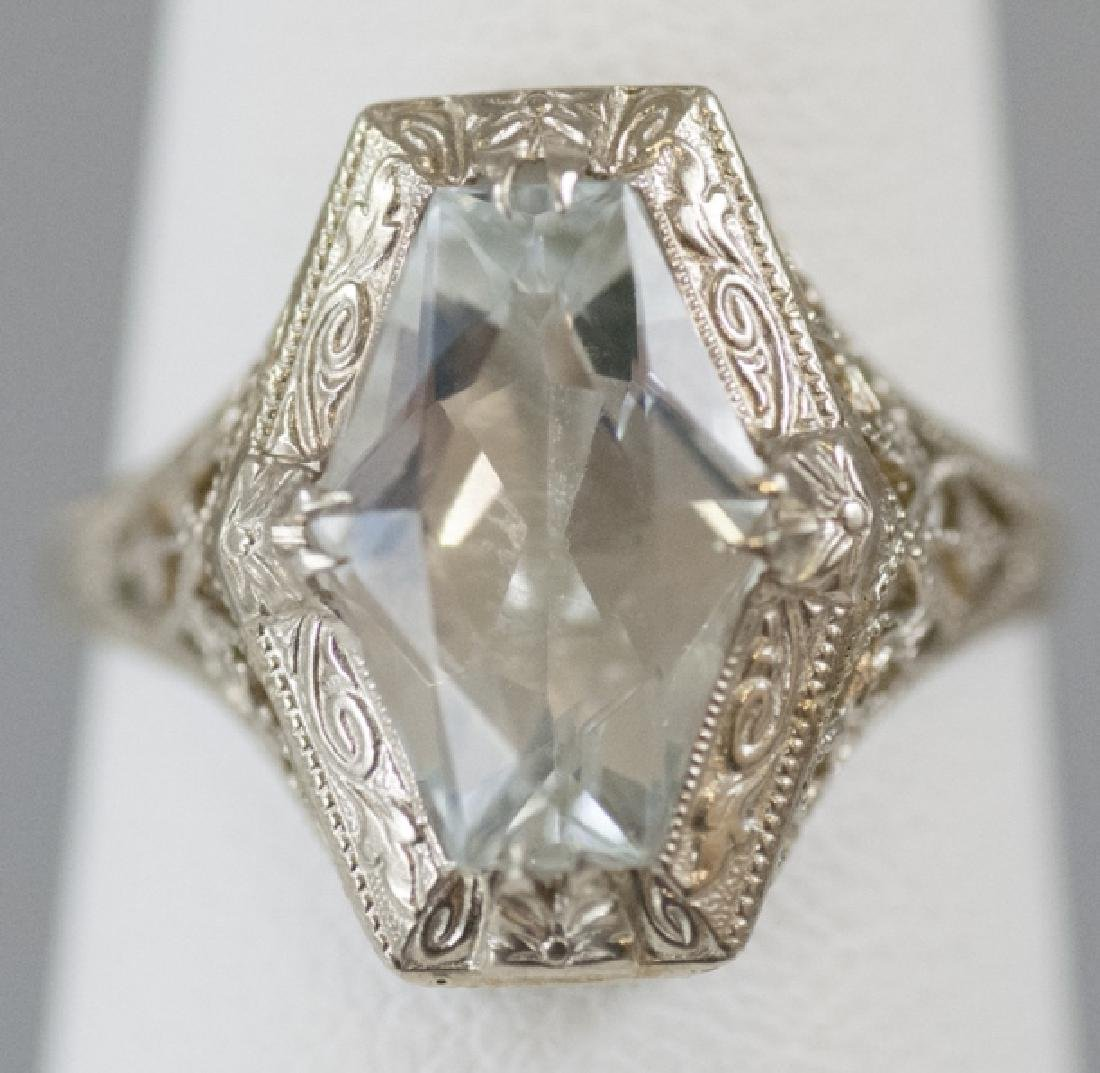 Estate Art Deco Style 14kt White Gold Ring