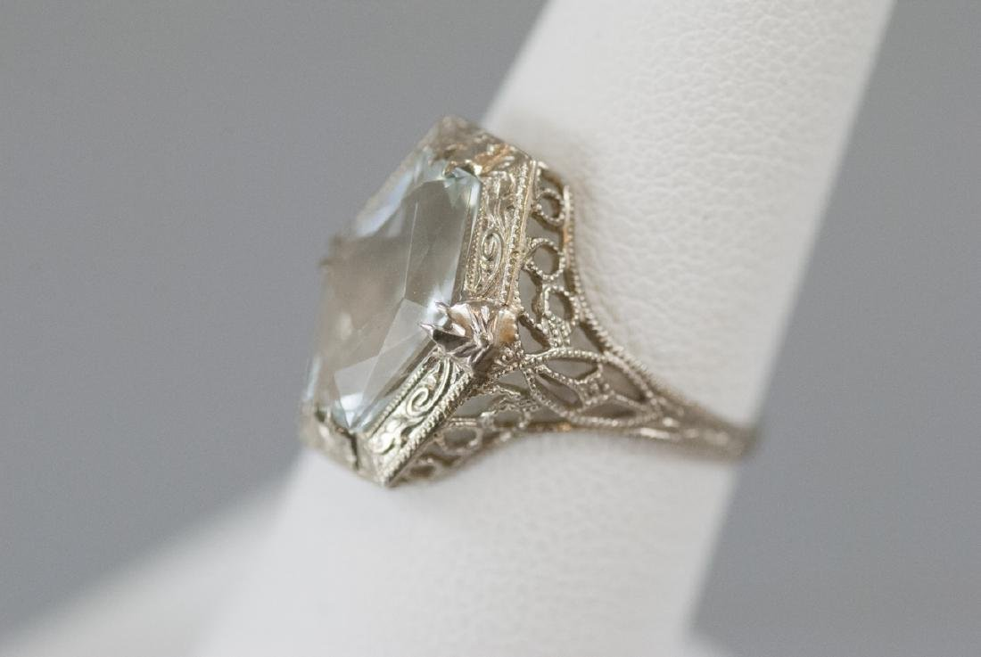 Estate Art Deco Style 14kt White Gold Ring - 2