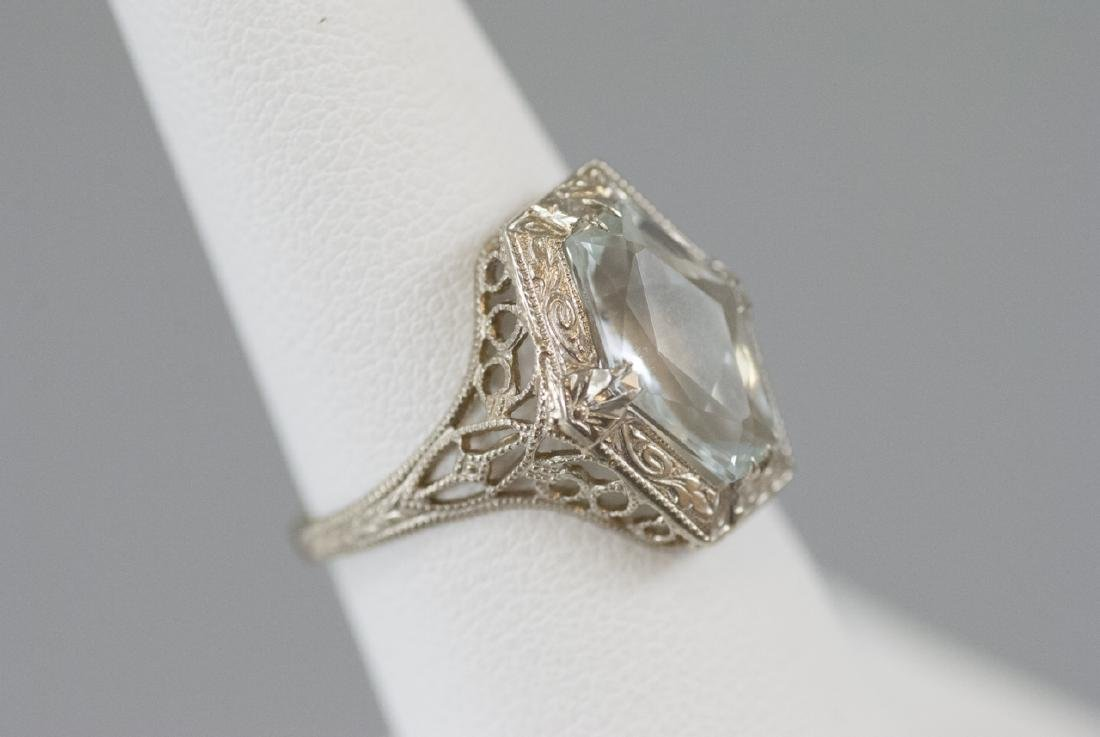 Estate Art Deco Style 14kt White Gold Ring - 3