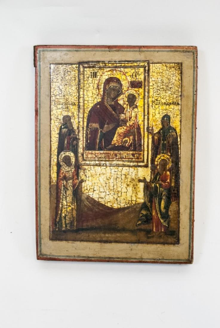 Antique Russian Icon Icon Mother God Tikhvinskaya - 2
