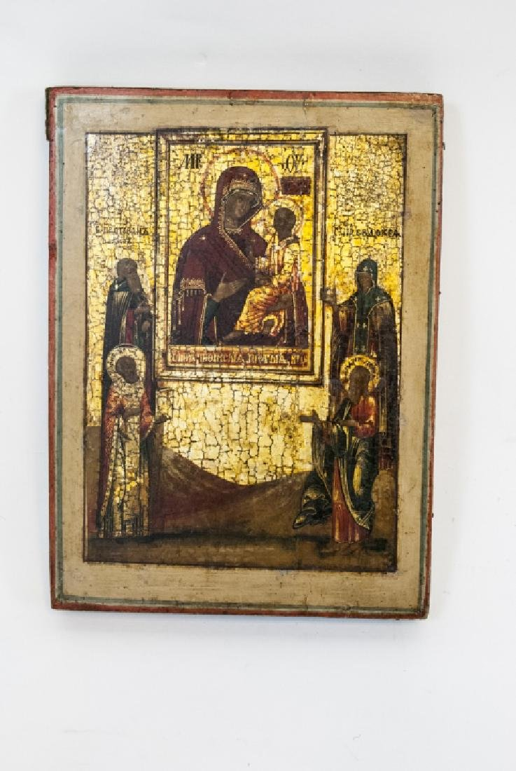 Antique Russian Icon Icon Mother God Tikhvinskaya - 3