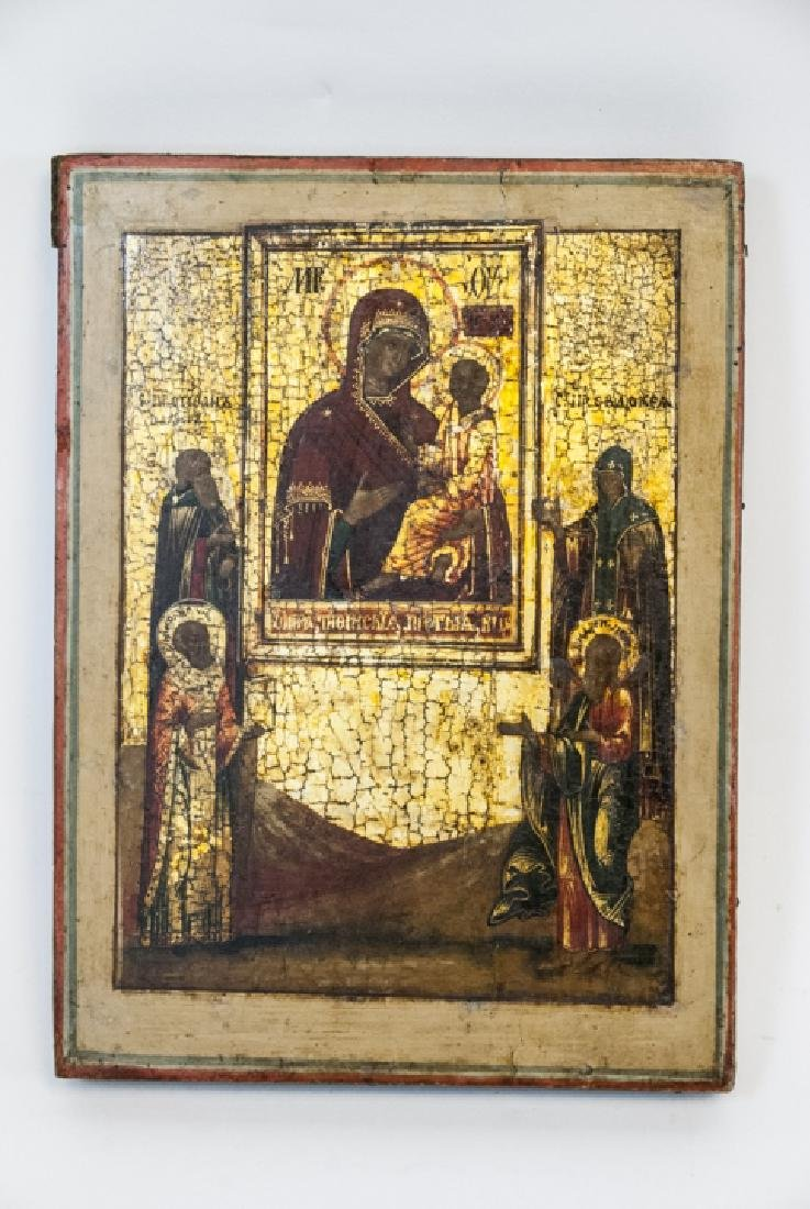 Antique Russian Icon Icon Mother God Tikhvinskaya - 4
