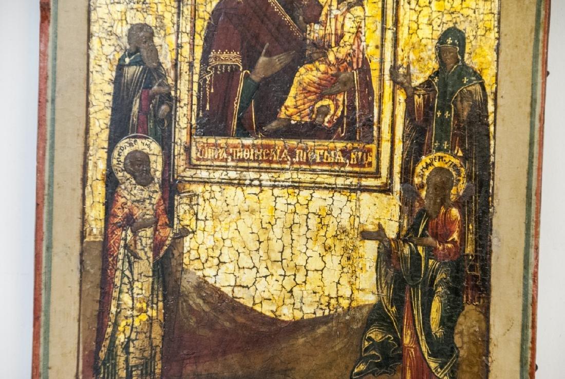 Antique Russian Icon Icon Mother God Tikhvinskaya - 6