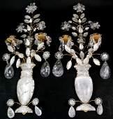 Pair Hollywood Regency Rock Crystal Gilded Sconces