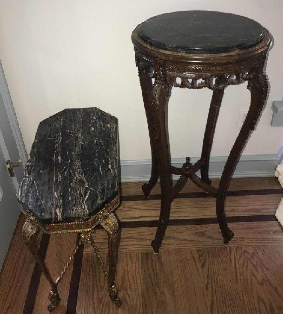 Marble Top End Table & Marble Top Pedestal