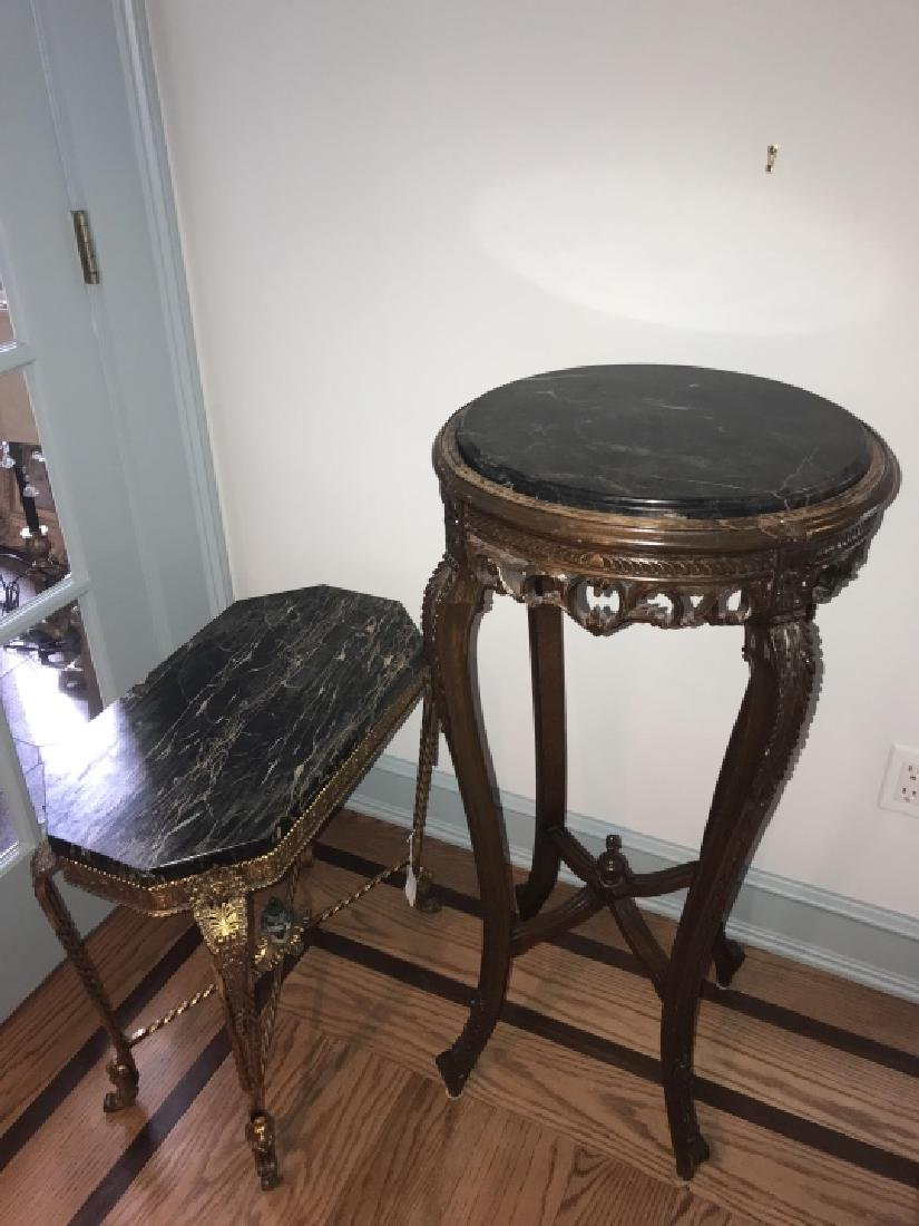 Marble Top End Table & Marble Top Pedestal - 3