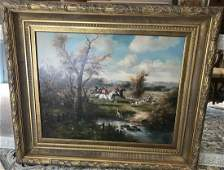 Landscape Painting w English Fox Hunt Scene