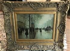 Framed French Painting of Paris Street Scene