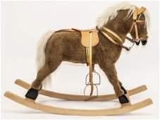 Vintage German Rocking Horse W Leather Saddle