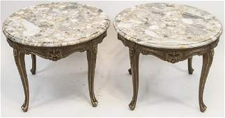 Pair Rococo Wood and Marble Mosaic Top Side Tables