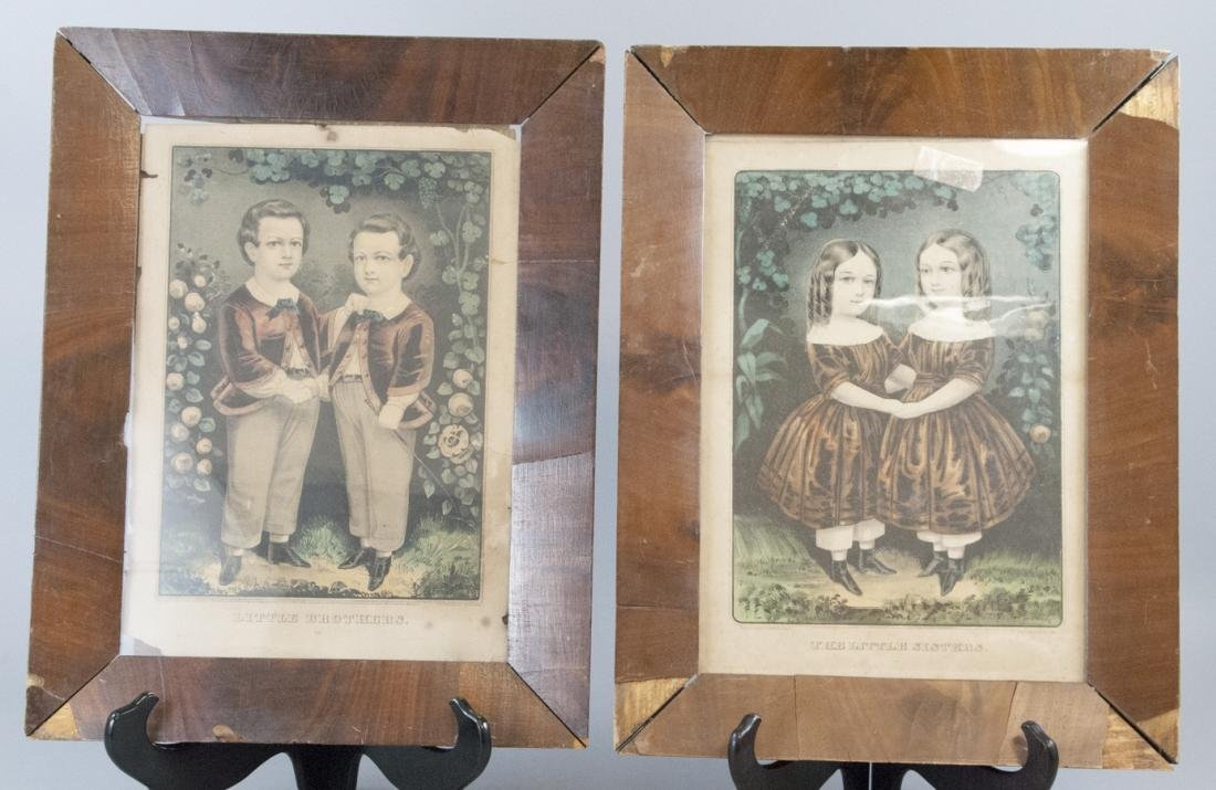 Pair Antique Currier & Ives Brothers Sisters Print