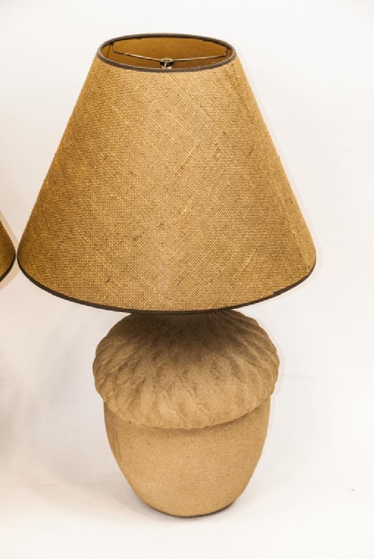 Pair of Mid C Acorn Form Ceramic Table Lamps - 2