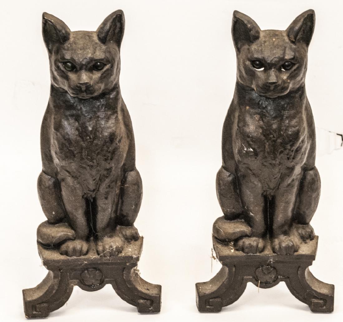 Pair of Antique Cast Iron Cat Form Andirons