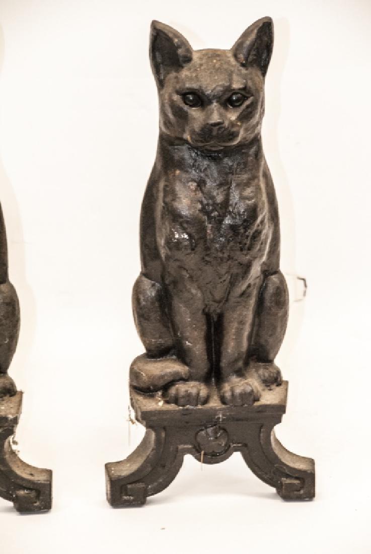 Pair of Antique Cast Iron Cat Form Andirons - 3