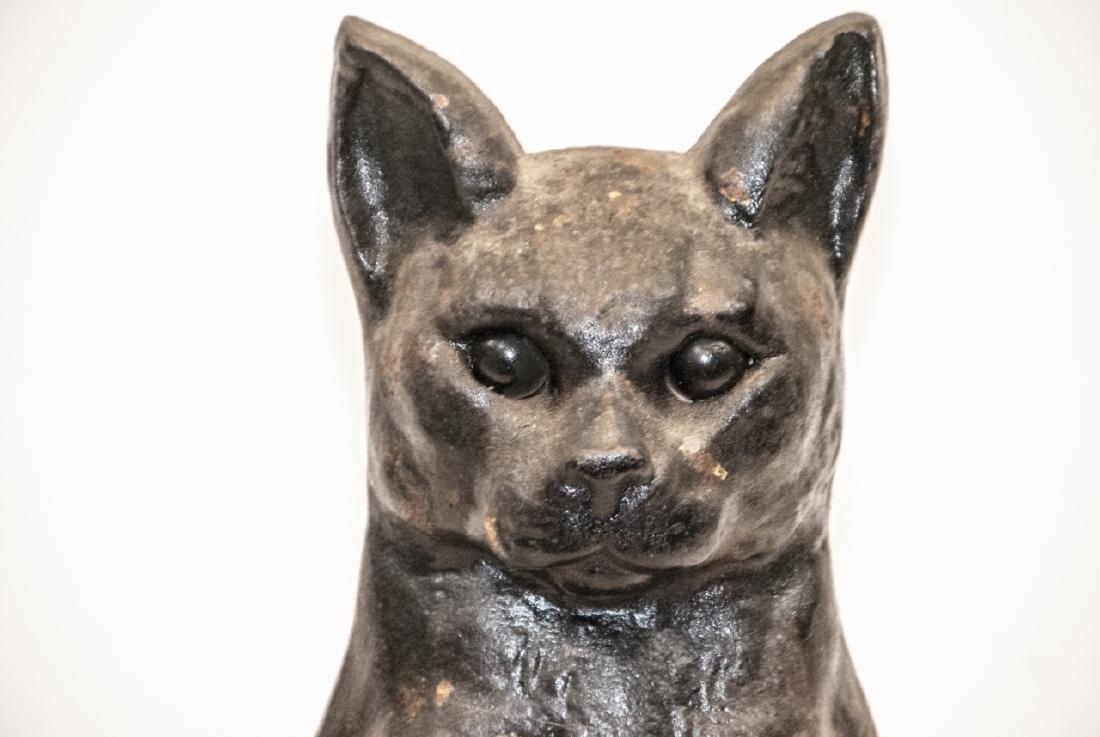Pair of Antique Cast Iron Cat Form Andirons - 4